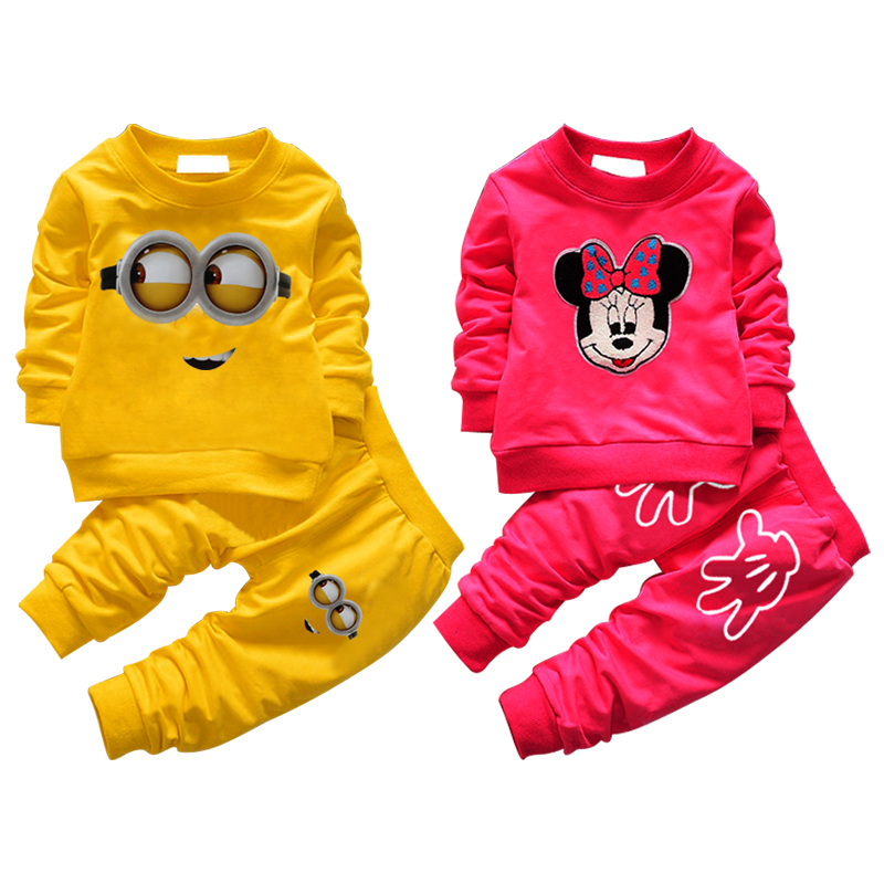 New summer baby clothing set despicable me minions baby boy girls clothes long sleeve children sport suit infant girls clothes