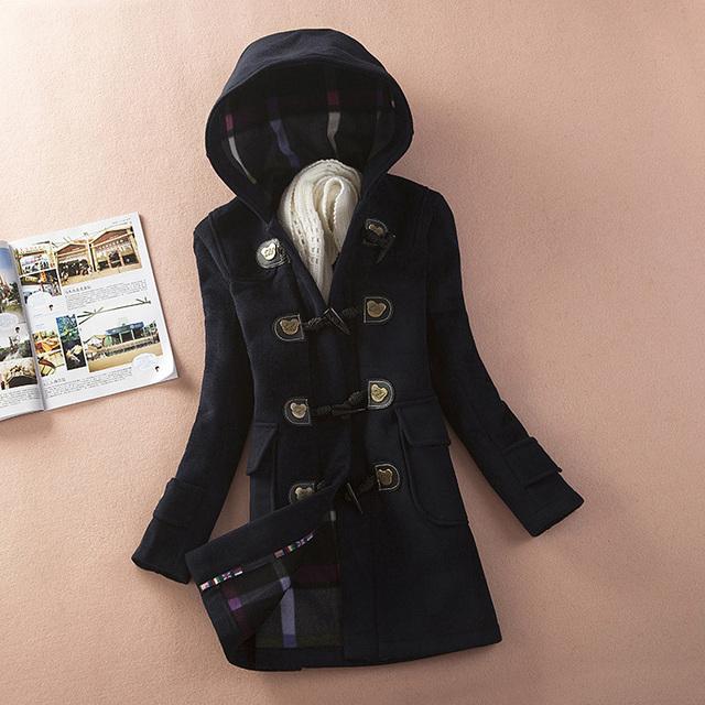 Женщины Толстый Капюшоном Зимнее Пальто 2016 Новое Прибытие Одной Кнопки Рог md-лонг Теплый Верхняя Одежда Шерсть Куртки Abrigos Mujer ZL3556