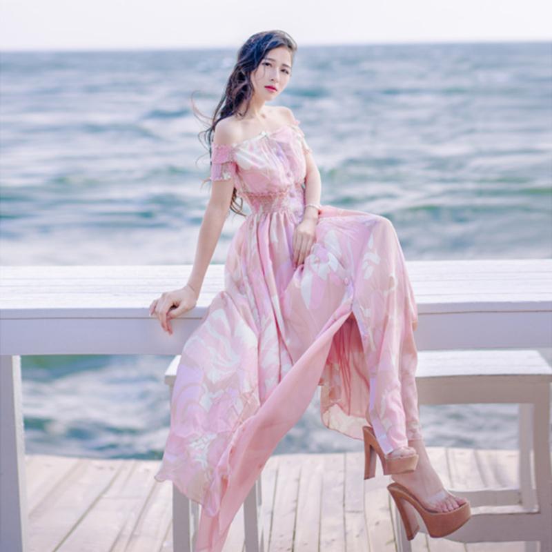 Classy Bohemian beach vacation holiday casual loose long big swing pink flower printing pattern dress(China (Mainland))