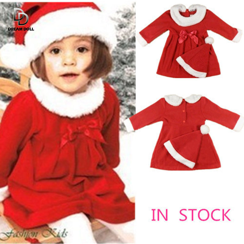 baby girls clothing set winter child Christmas costume 2014 new red dresses +red hat 2pcs set warm clothes(China (Mainland))
