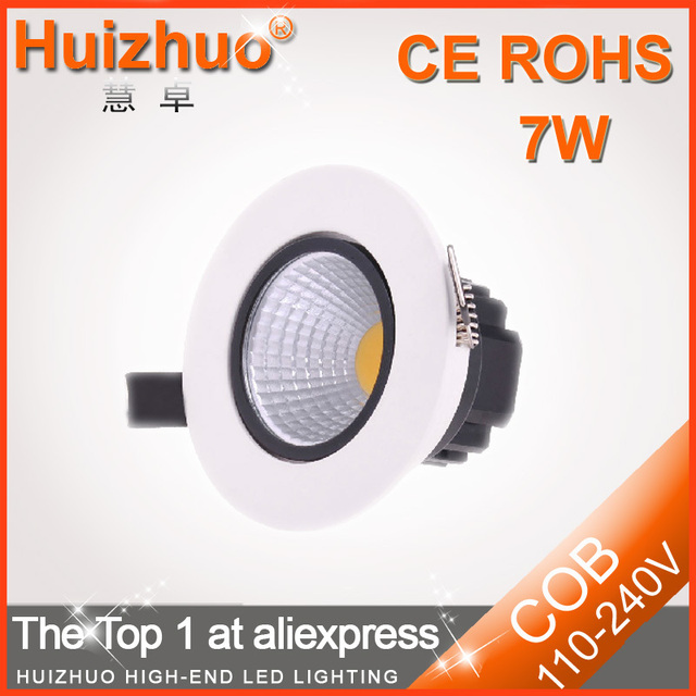 [Huizhuo Lighting]2013 New Style 7W AC85-265V High Lumen COB  LED Downlight