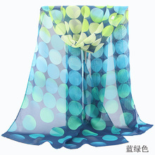 2016 Summer Autumn Chiffon Scarf Sunscreen Cape Beach Towel Polka Dot Floral Print Silk Scarf wholesale Shawl Wrap Size 160*50cm(China (Mainland))