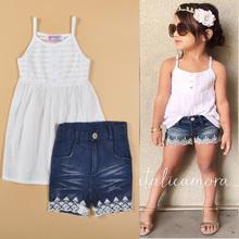 2-6T summer 2015 kids fashion girls clothing sets suspender blouse+lace denim shorts Kids Clothes 2pcs Suits conjuntos infantis