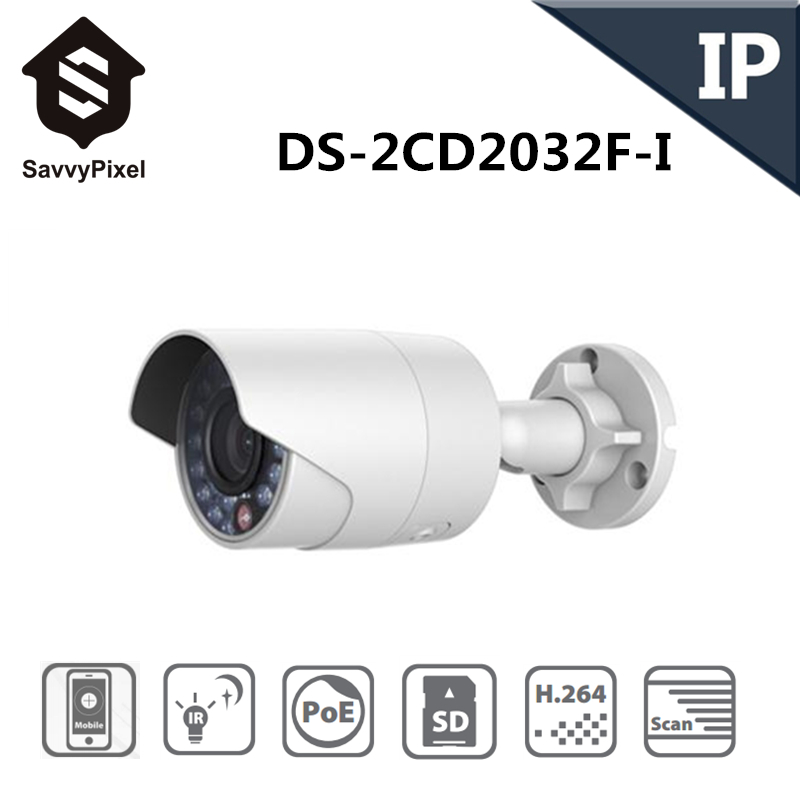 English Version IP Camera 3.0MP Fixed Lens Bullet CCTV Camera With POE Network Camera CCTV Camera DS-2CD2032F-I 4mm(China (Mainland))