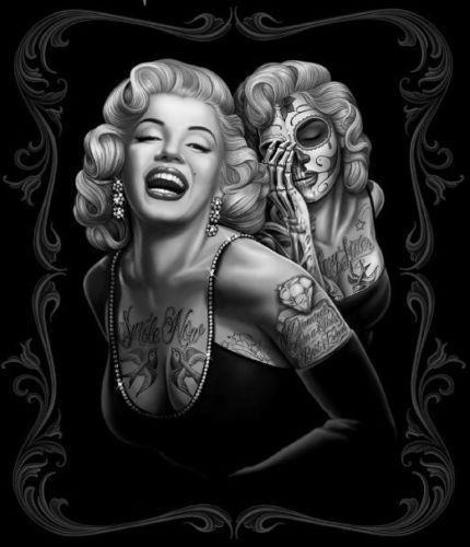marilyn monroe smile now skull tattoo mink blanket queen art silk poster