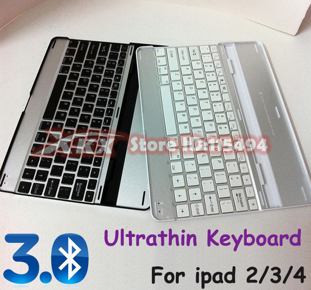 Free shipping Aluminum Alloy Bluetooth wireless keyboard for Apple ipad 2/3/4  PC Notebook ultra thin stand case accessories