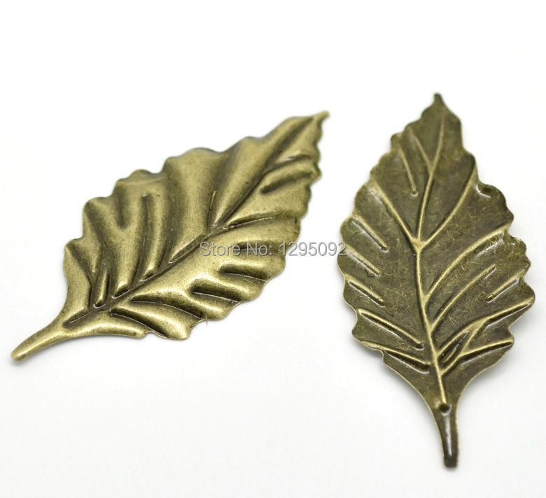 "75Bronze Tone Embellishments Leaf Stamping Decoration Scrapbook 54x24mm(2 1/8 inch""x1 inch"")"""