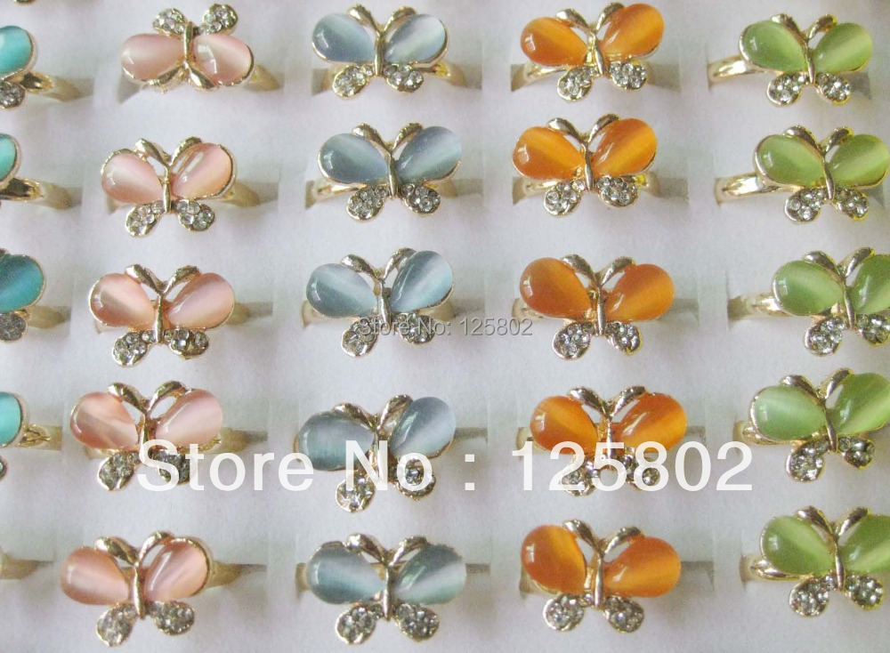 FR016 Kid's rings 5pcs butterfly pattern novelty jewelry fingerring(China (Mainland))