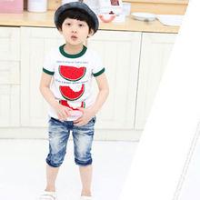 Summer Kids Tops Toddler Boy Watermelon Print Tops Shirt Cozy T-Shirt Child Boys Short Sleeve