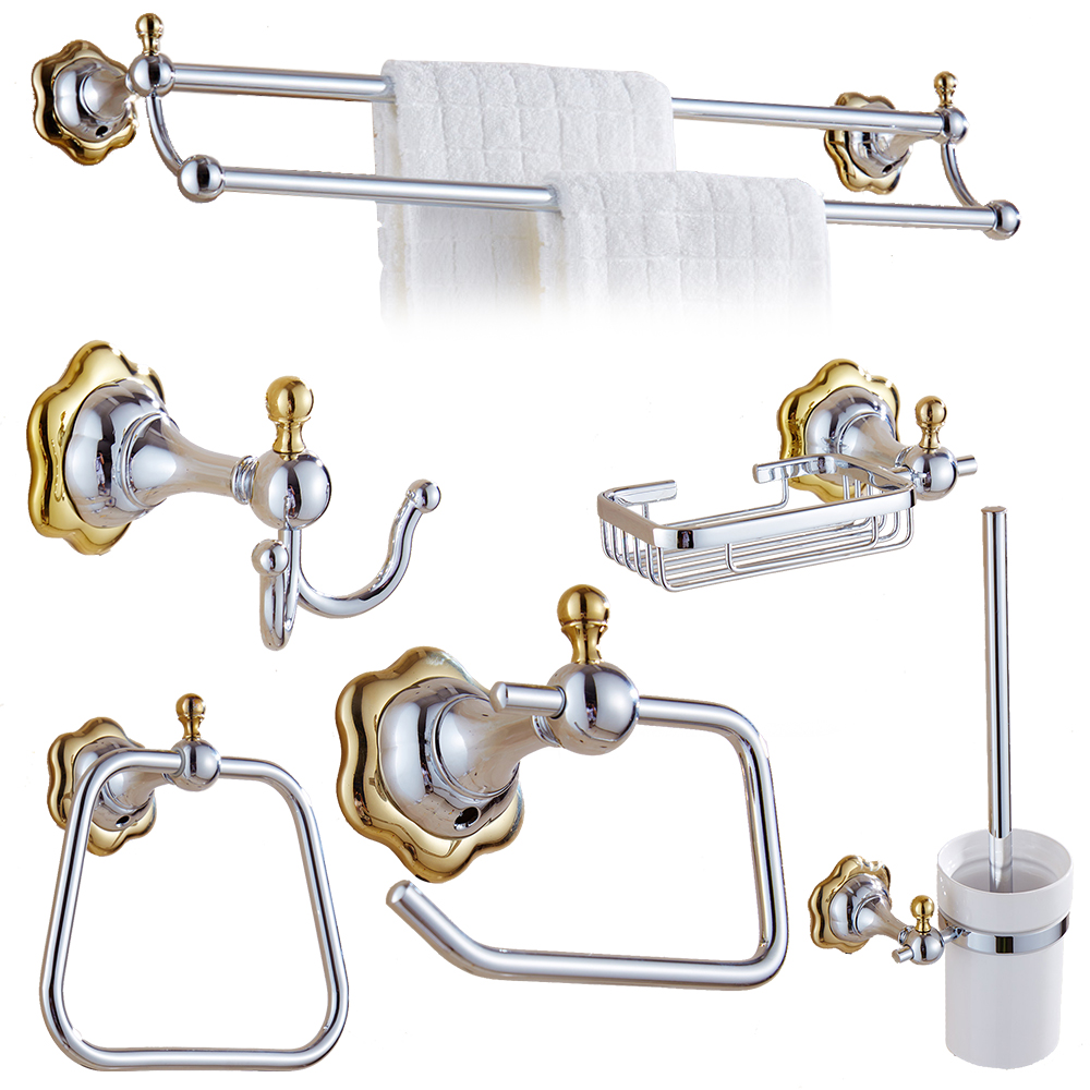 Beautiful Crystal Decoration Luxury Gold Bathroom Hardware Hanger Set Towel Rack