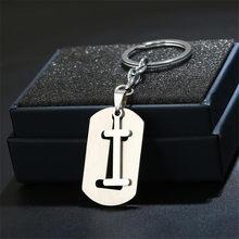 TỰ LÀM A-Z Chữ móc chìa khóa Cho Người Đàn Ông Thép Không Gỉ Keychain Phụ Nữ Xe Vòng Chìa Khóa Đơn Giản Thư Tên Móc Khóa Giữ Bên quà tặng Trang Sức(China)