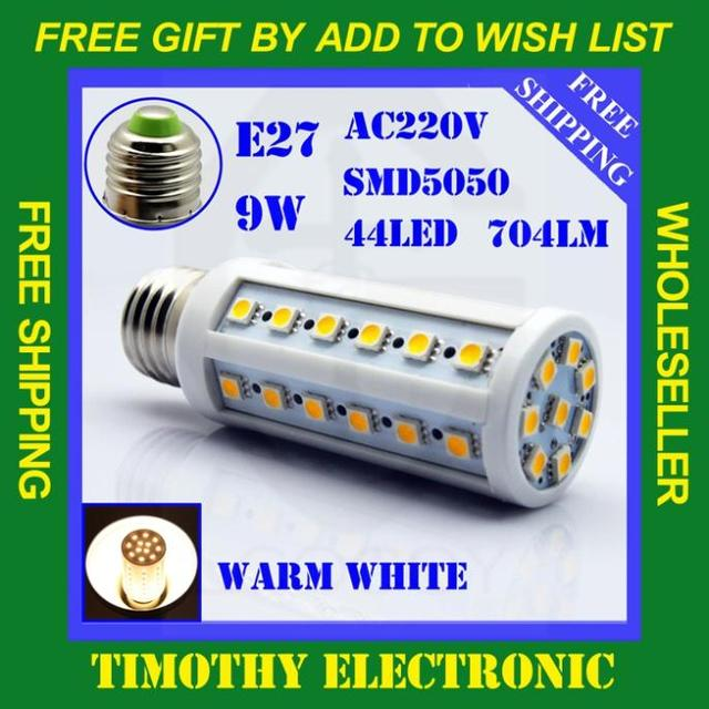 POPULAR IN RUSSIAN FREE SHIPPING 9W E27 44 LED 5050 SMD Energy Saving Warm White Corn Light Lamp Bulb AC 220V 10pcs/LOT LE002W10