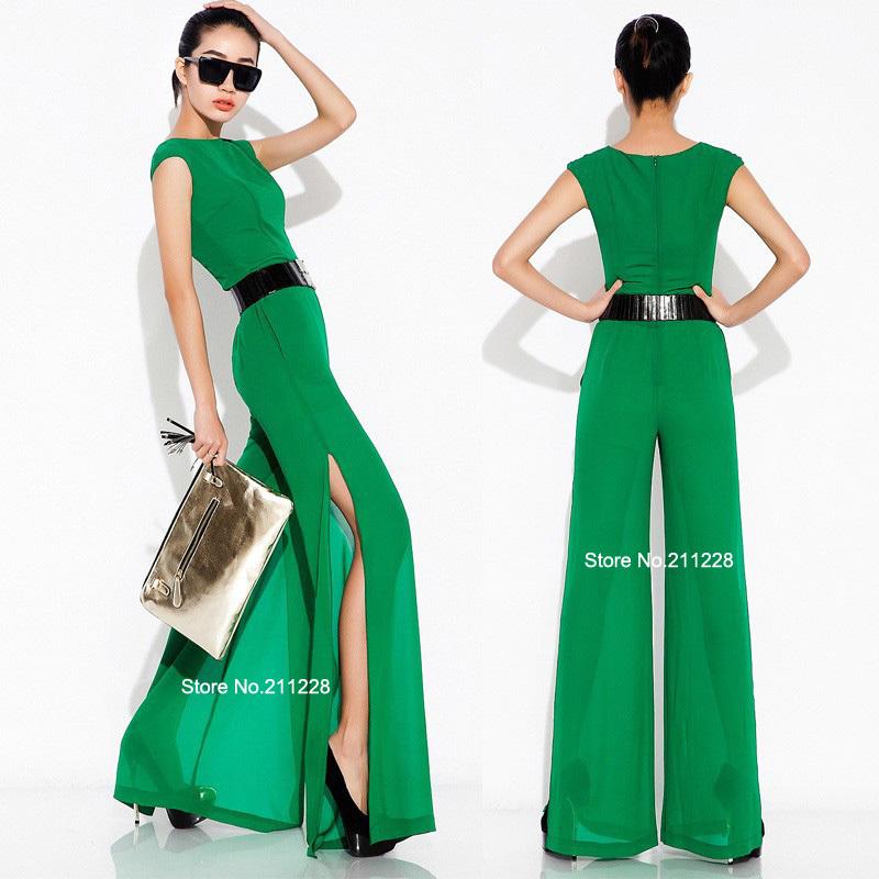 Awesome Women39s V Neck Green Leaf Printing Jumpsuit  ACHICGIRLCOM