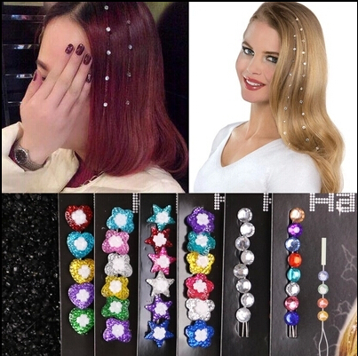 Newest Gem hair extension hair jewelry crystal flash trendy bride hair maker colorful decoration acrylic glass stone women girls(China (Mainland))