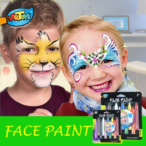 Artoys Dazzling Toys Colored Face Paint Crayon Sticks - Pack of 10 - Ideal For Drawing a Princess, Circus, Fairy Painting Toys(China (Mainland))