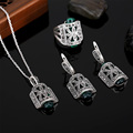 HENSEN Jewellery Fashion Design Black Rhinestone And Green Resin Pendant Necklace Set Antique Silver Plated Vintage