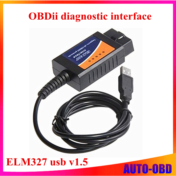 Top rated ELM327 Interface USB OBD2 Auto Scanner v1.5 OBDII OBD 2 II elm327 usb Super scanner best price top selling(China (Mainland))