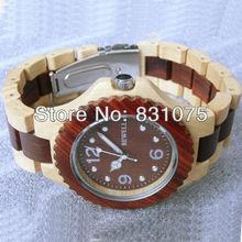 Dos colores hombres mujeres Unisex 2013 más caliente de madera Natural reloj de madera del reloj