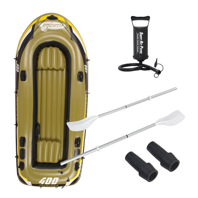 4 Person 340x142x48cm fishing boat inflatable boat, kayak, a pair 124cm Alumnium oars,1 hand pump, repair patch(China (Mainland))