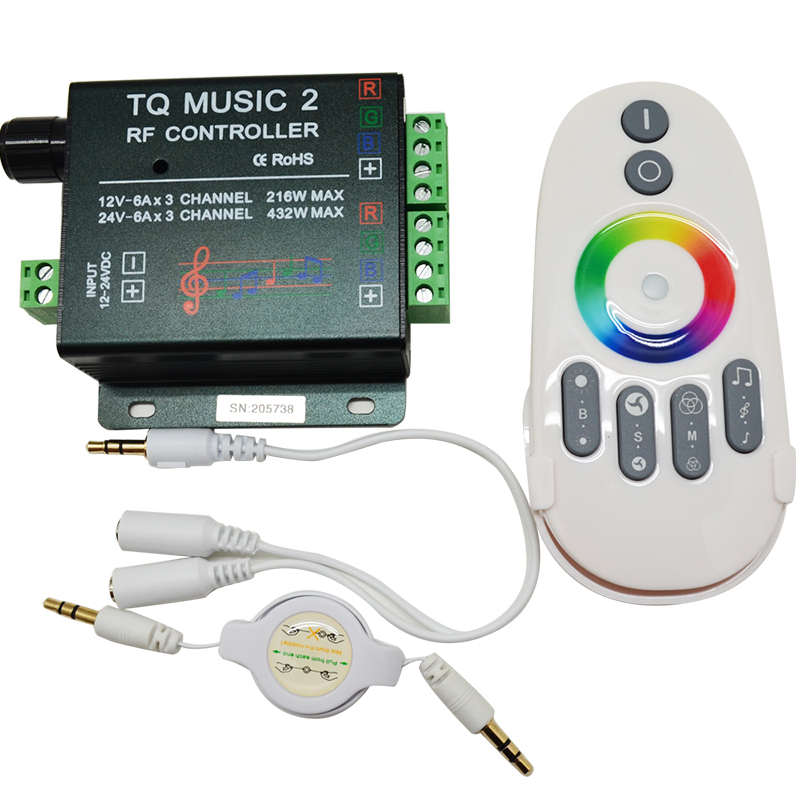 DC12V 24V RGB LED Remote Controller RF Music Audio control 18A 3 Channel TQ Music 2 for SMD 3528 5050 5630 Led Strip Light(China (Mainland))