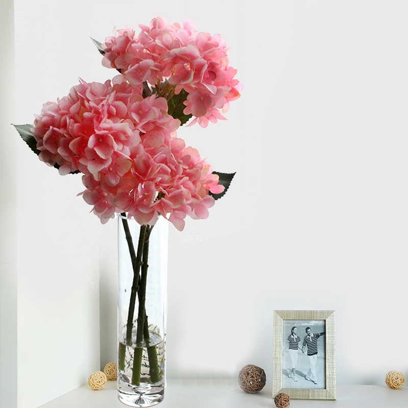 Artificial flowers 2015 real touch hydrangeas with large for Artificial flowers for home decoration