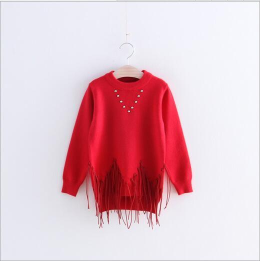2016 Spring Kids Girls Tassel beading Sweater Baby girl crochet knit jumper pullover babies fashion knitting tops <br><br>Aliexpress