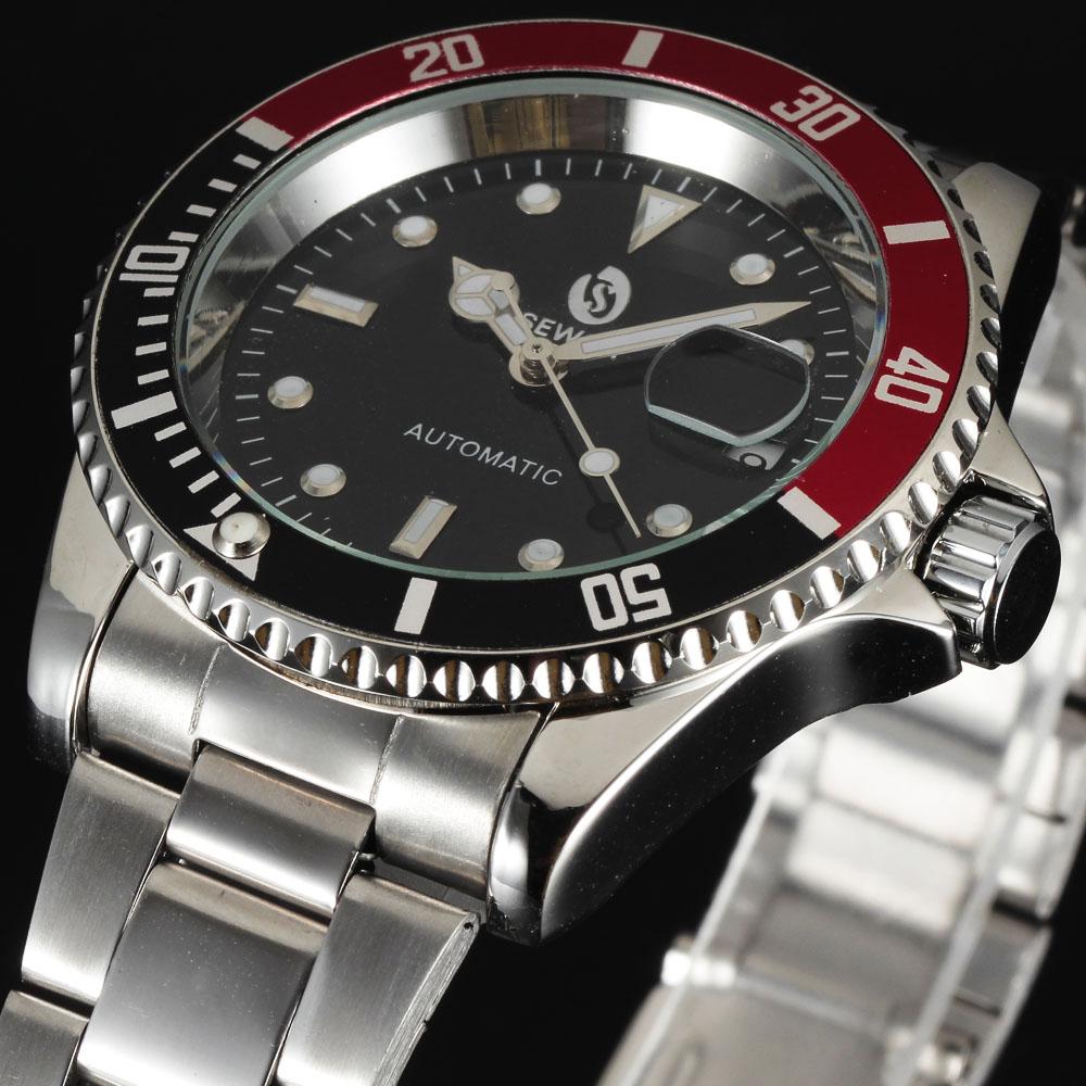 2016 new fashion steel men male clock Sewor brand stylish design classic automatic mechanical wrist dress calendar watch gift(China (Mainland))
