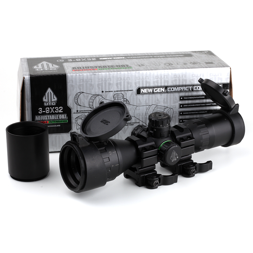 Leapers UTG Optical 3-9x32 AOLWQ 1inch Tube Mil-dot Compact Hunting Riflescope With Sun Shade and QD Rings Tactical Rifle Scope(China (Mainland))