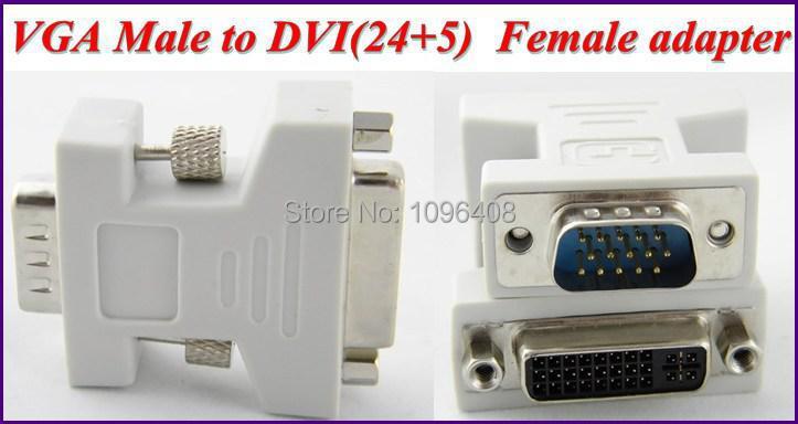 Wholesale &Free Shipping 10pcs VGA to DVI Extension Cable Adapter,VGA DB15 Male to DVI (24+5) Female(China (Mainland))