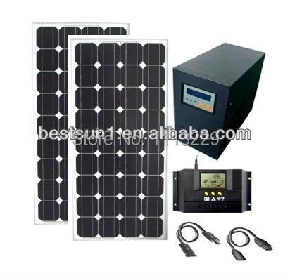 1KW solar panel system/1KVA Solar home power system/1000W off grid solar energy system(install at home get free electricity)(China (Mainland))