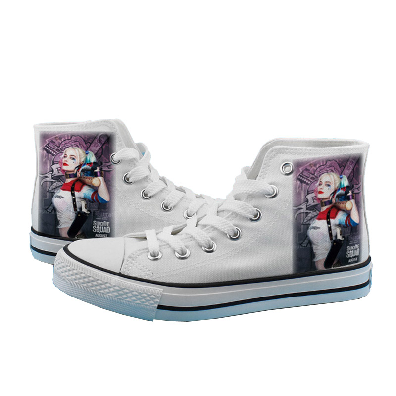 Cosworld Suicide Squad Canvas Shoes Women Casual High-Top Star Flat ShoesPrinting Shoes Harley Quinn Joker Leisure Shoes (3)