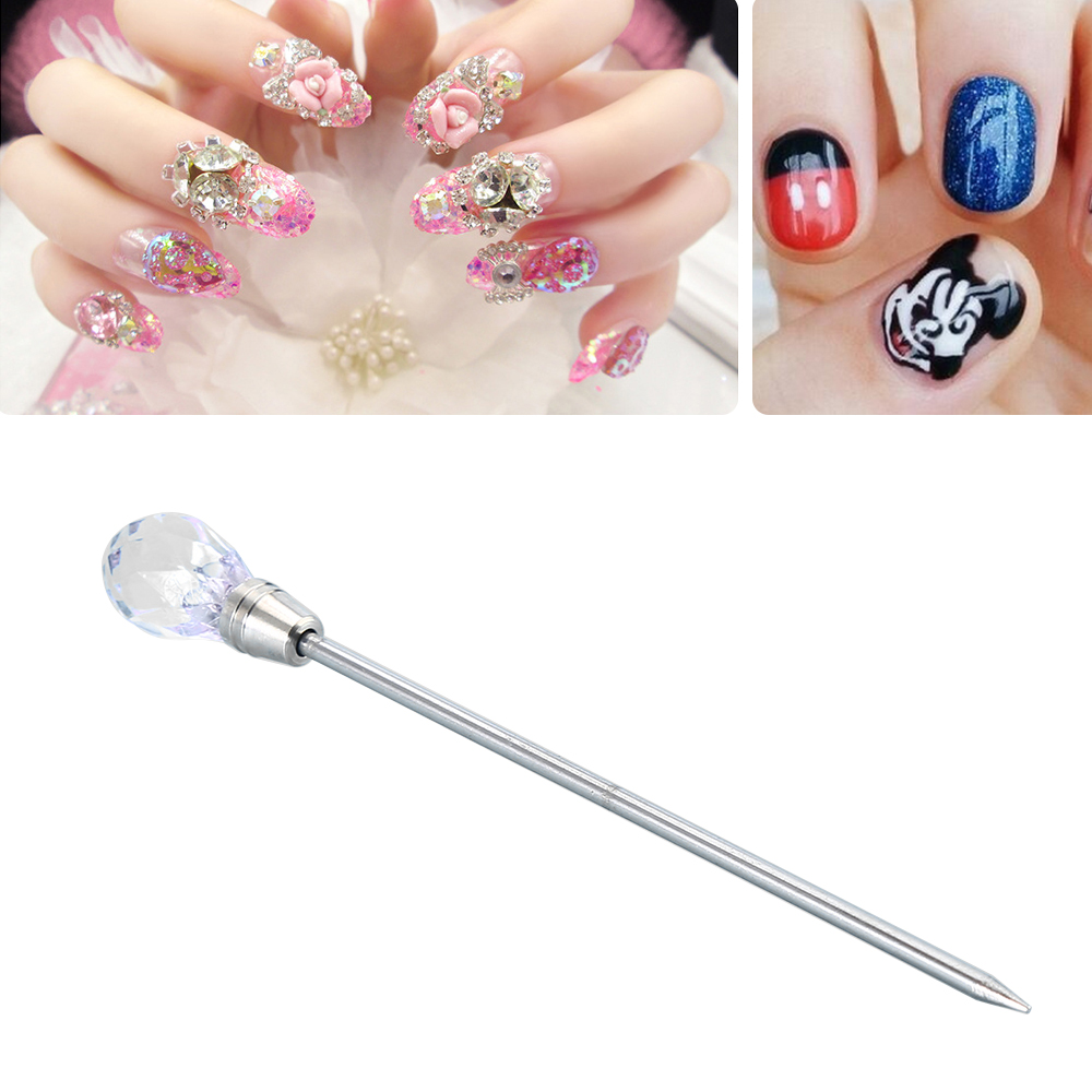 High Quality 1pcs Japan Stainless Steel Gem Decorated Dotting Pen Point Drill Pen Rhinestones Gems Picking Tools Nail Art Tools