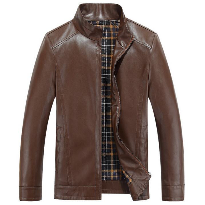 New 2015 Spring Autumn Men Leather Jackets sheep Casual Leather Coats motorcycle jacket mens stand collar Clothing Size M-XXXL(China (Mainland))