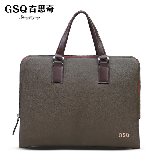 Gsq autumn new arrival man bag elegant commercial male messenger bag cowhide handbag