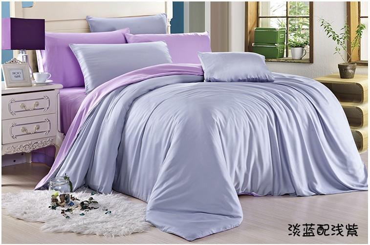 Solid Light blue purple bedding set queen king size silk quilt duvet cover sheets bed brand bedspreads bedsheet bedroom linen(China (Mainland))