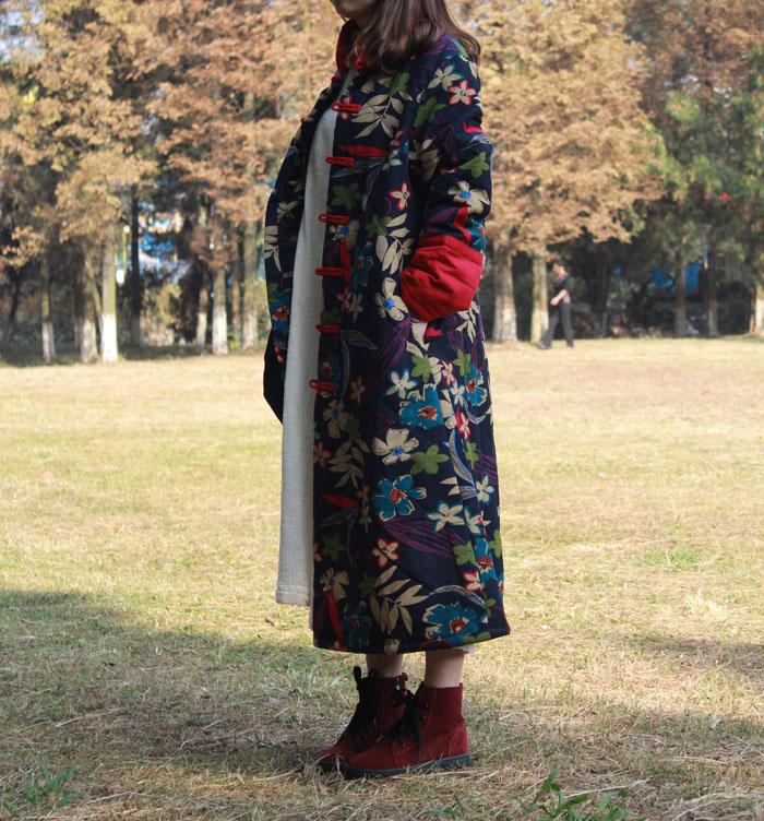 Скидки на Осень и зима национальный хлопок зимние-мягкие одежды стоячим воротником с длинными рукавами хлопка-ватник пальто ветровка плащ