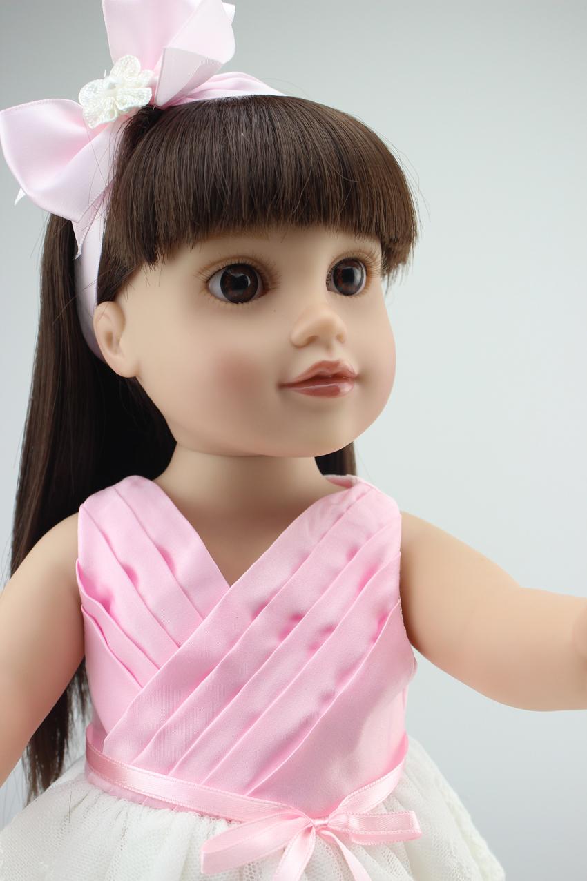 "Pre-Sale 18"" 45cm Half Soft Body American Girl Dolls Brown Long Hair Baby Toys Birthday Gift for Girls Free shipping NPK9023Q(China (Mainland))"