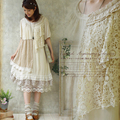 Forest Girl Style Ruffle Loose Plus Size Lace Patchwork Asymmetrical Dress Double Layer Mori Girl Kawaii