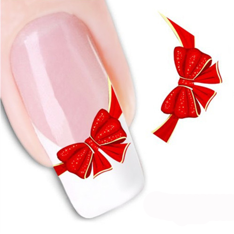1Pcs Water Stickers Decals 3D Red Bow Ties Water Transfer Stickers Nail Art Decorations Beauty Nail Design Manicure Makeup Tools(China (Mainland))