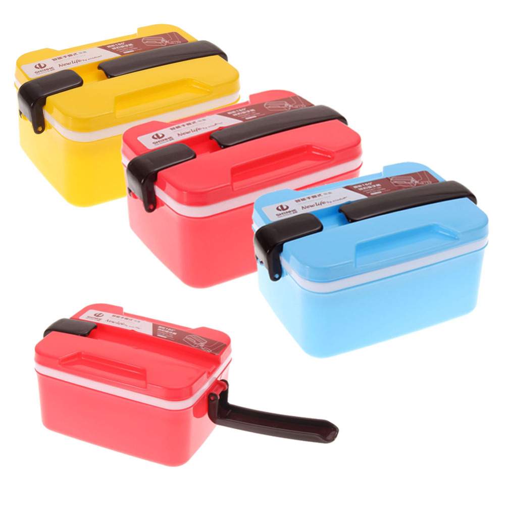 picnic food container spoon storage 2 layer microwave. Black Bedroom Furniture Sets. Home Design Ideas