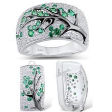 אופנה כסף צבע עץ תכשיטי זירקון עבור נשים מבריק אדום עגילי טבעת חתונה מסיבת סט תכשיטים הודי(China)