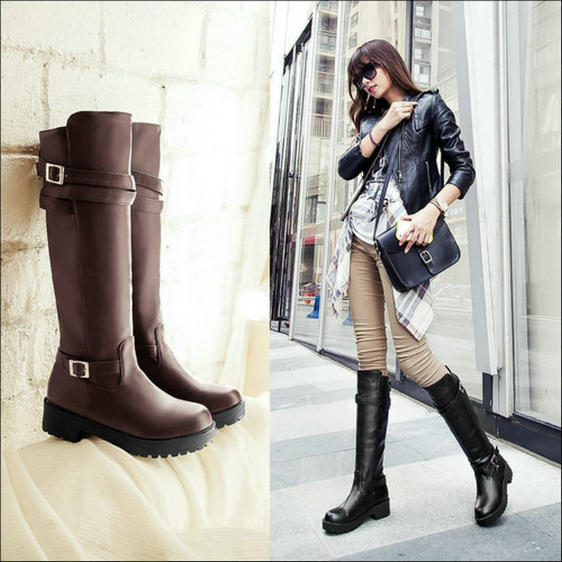 women boots Flats motorcycle top winter long woman autumn knight shoes - CHINA ALMSS Ltd. store