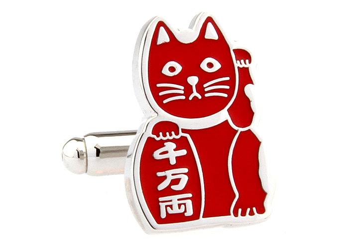Novelty Brand New Men Red Color Cat Design Cufflinks Lucky Cat Animal Cuff link Shirt Dress Cufflinks Gift()