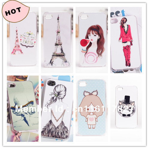 crystal rhinestone Bling cell phone cases fashion girl cute animal Hard Back Cover shell for iphone 4 4S 4G mobile case 20pcs