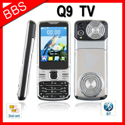 Russian Polish Menu Q9 Quad Band Mobile Phone Dual SIM Card TV FM Bluetooth Camera 2.4 Inch Screen(China (Mainland))