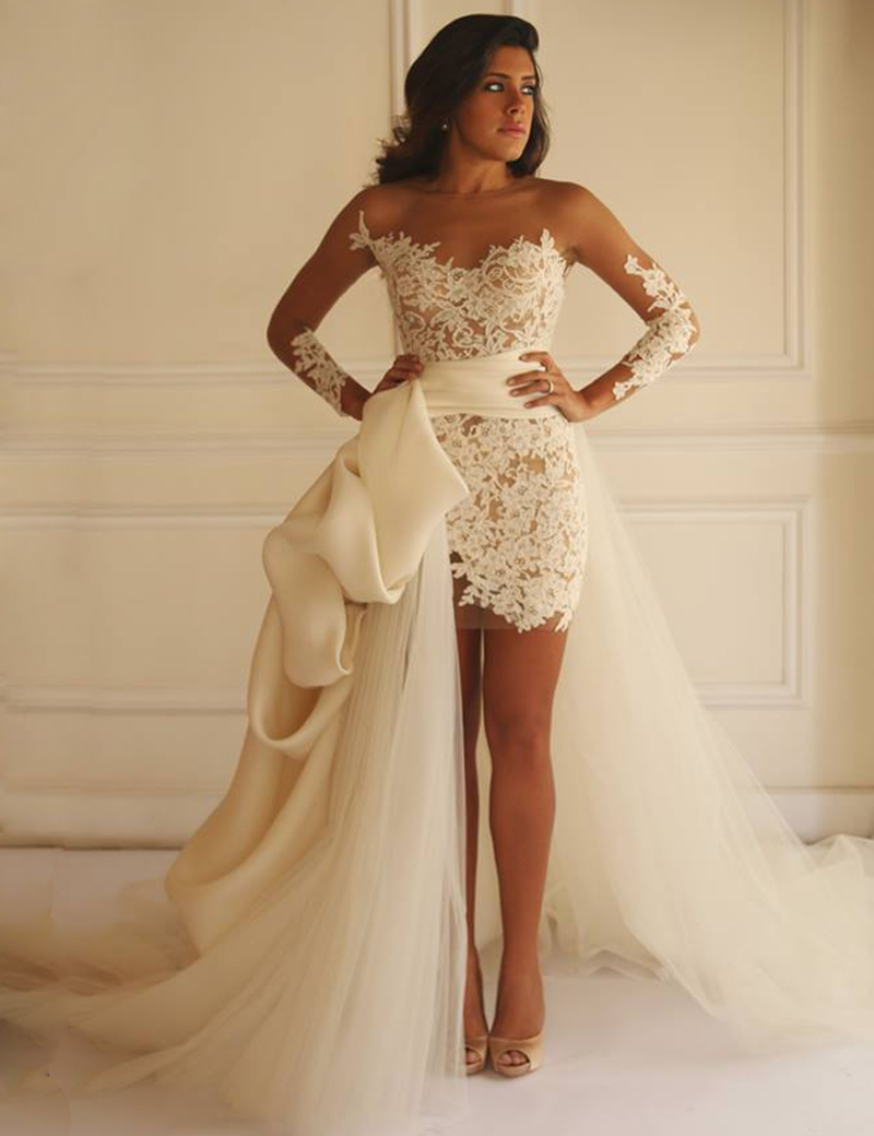 Buy Short Sheath Wedding Dress 2015 Long