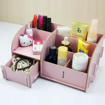 Solid drawer DIY cosmetics wooden storage box jewelry jigsaw makeup organizadoras case houseware boite rangement 25*15*13cm(China (Mainland))