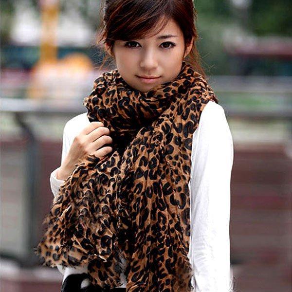 Women's Long Large Scarves Georgette Gauz Wrap Scarf Shawl Sexy Leopard(China (Mainland))