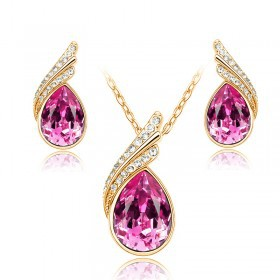 Jewelry factory wholesale shinning gold  plated crystal earrings & necklace jewelry set for women for party