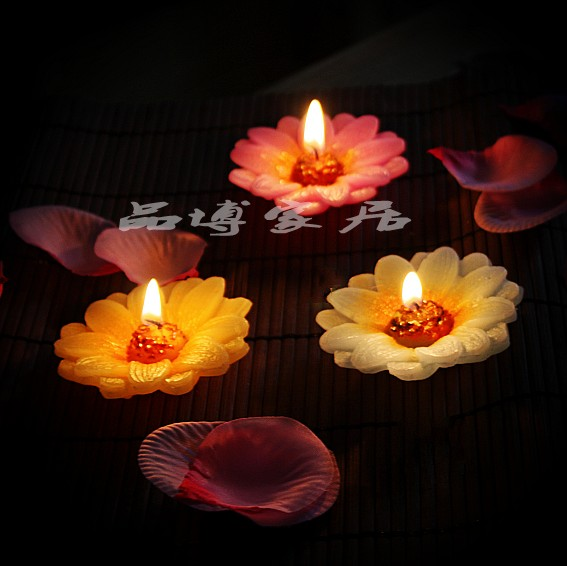 3pcs floating candle rose candle romantic christmas candle Color: yellow, purple, blue(China (Mainland))
